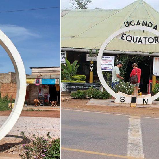 safari to Uganda equator the landmark in kayabwe that divides the earth's surface into the Northern and Southern Hemispheres